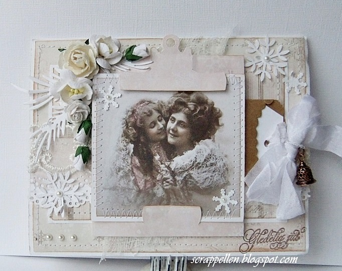 Christmascard in pastelpink