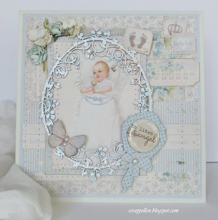 Baptismcard for a babyboy with a giftbox